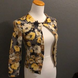 J.Crew yellow and gray floral cardigan sweater S